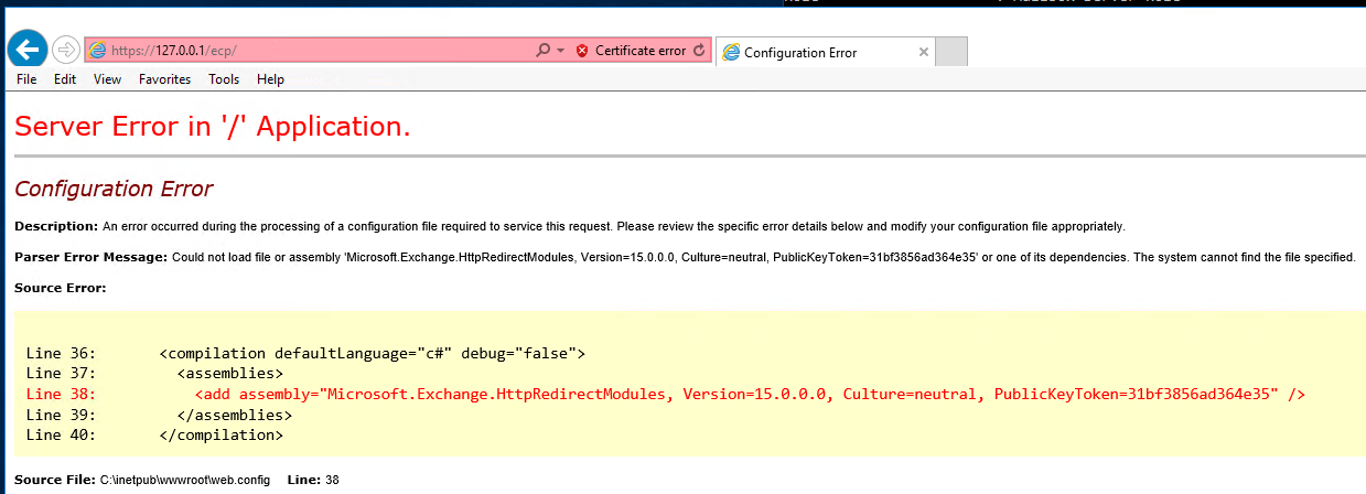 Exchange 2016 CU9: Virtual Directory errors (HTTP 500) and ASP NET